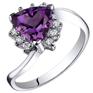 FacetzInspire Real Diamond Lab Amethyst 92.5 Sterling Silver Ring