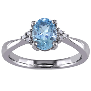 FacetzInspire Real Diamond Lab Aquamarine 92.5 Sterling Silver Ring