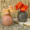Handcrafted Charcoal Grey & Peach Glazed Ceramic Vase - Set of 2