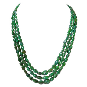 3 Line Green Oval Emerald Necklace