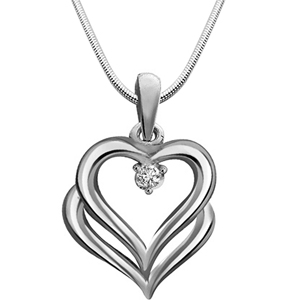 Diamond & Silver Pendant with Chain