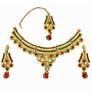 Traditional Red, Green & White Colored Stone Set with Enamel