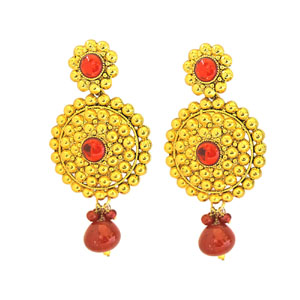Rajasthani Style Gold Plated Chandbali Earrings